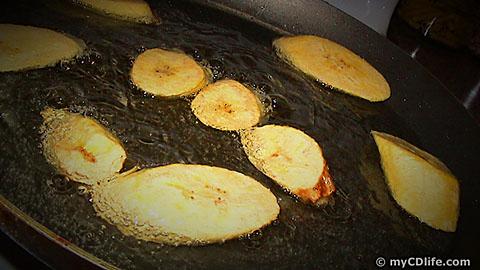 platanos frying