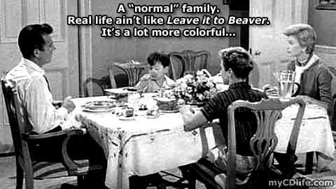 """the """"normal"""" Cleaver family eating their """"normal"""" dinner"""