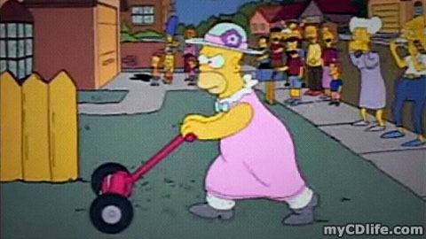 Homer Simpson mowing the lawn in a dress