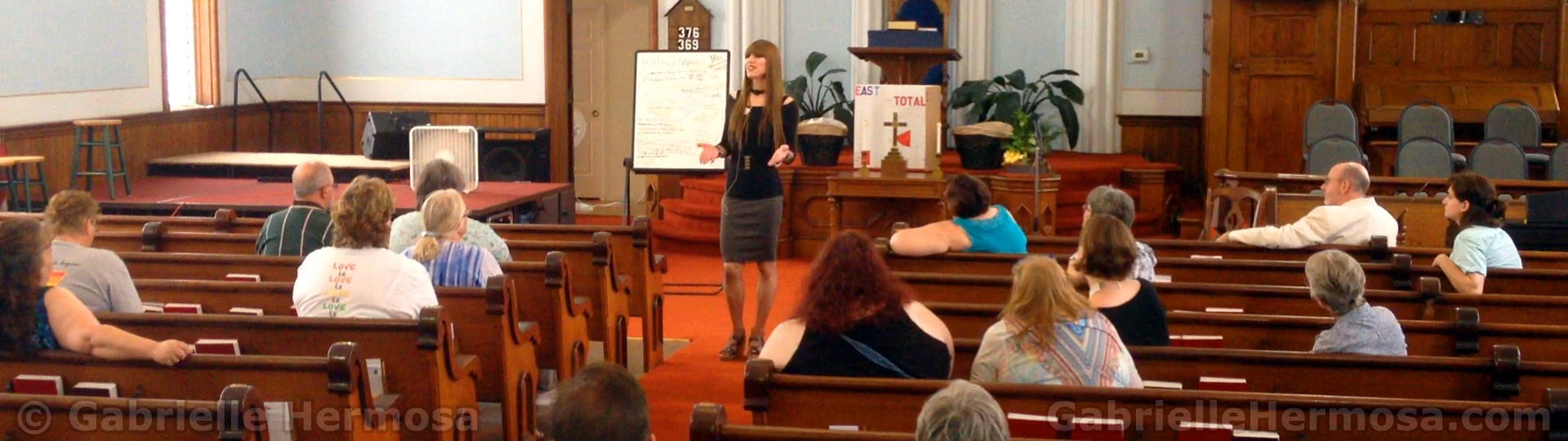 Gabrielle speaking in Church